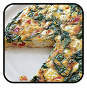 Spinach red onion feta Frittata